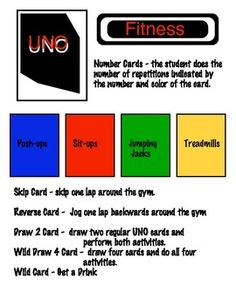 IIf you have an old deck of UNO cards laying around bring them to your gym and use them for a warm-up or fitness activity !