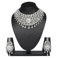 VK Jewels Multi Drops Rhodium Plated Necklace with Earrings- NKZ1090S [VKNKZ1090S]
