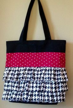 Alabama Ruffled Tote Gameday Bag Houndstooth by HomemakerinHeels, $35.00