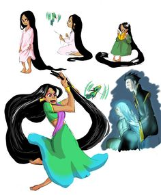 Rise of the Guardians x Tangled fusion!art - Pg 2) Rapunzel!Toothiana, Pascal!Baby Tooth, and Gothel!Pitch Black