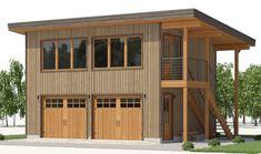 Garage Loft, Garage Studio, Garage House, Garage Apartment Plans, Garage Apartments, Contemporary House Plans, Modern House Plans, Modern Houses, Rustic Modern Cabin