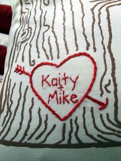 custom heart -- tree print pillow cover -- personalized with your names or initials. $34.00, via Etsy.
