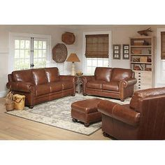 Rawlings 4 Piece Top Grain Leather Living Room Set