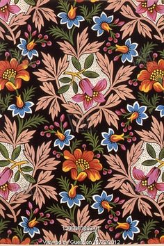 Floral textile design, from the Mulhouse Pattern Book-Ornament des Tissus. Watercolour. France, 19th century.