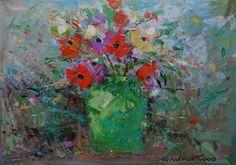 Neville FLEETWOOD-Flowers in a Green Vase