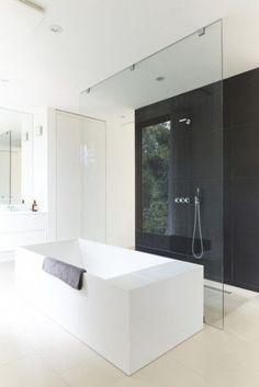 nice idea, glasswall between bathtub and shower