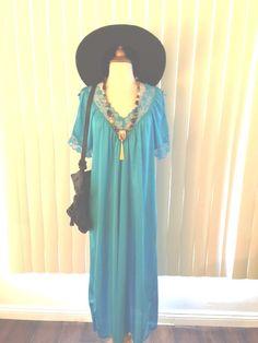 SOLD Vtg Boho Turquoise Cochella Hippie Lace Trim Slip Dress Sz M-L by casadelagitana on Etsy