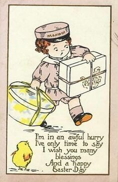 Cute Child with Hat Box & Chick Easter Postcard-ff462