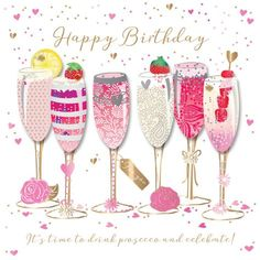 Happy Birthday Prosecco Handmade Embellished Greeting Card | Cards | Love Kates
