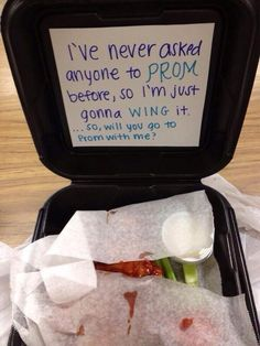 Gentlemen. This is one way NOT to ask someone to prom. Please do not try this at home. It will most likely end with you covered in chicken wings and ranch.