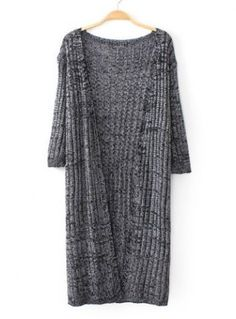 Simple Style Collarless Half Sleeve Solid Color Women's Maxi Cardigan
