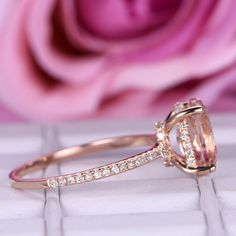Oval Morganite Engagement Ring Diamond Hidden Halo 14K Rose Gold 7x9mm - 6.75 / 14K Yellow Gold