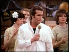 Fonzie Does Elvis with back-up singers Laverne and Shirley and Richie on the guitar.