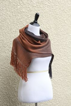 Hand woven long scarf gradient color brown black coffee chocolate brown with fringe