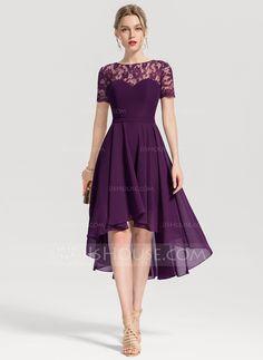 A-Line/Princess Scoop Neck Asymmetrical Chiffon Cocktail Dress - Wedding Elegant Dresses, Pretty Dresses, Sexy Dresses, Evening Dresses, Fashion Dresses, Dresses For Work, Formal Dresses, Summer Dresses, Long Dresses