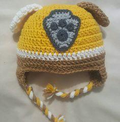 Paw Patrol Rubble crocheted hat by HookedbyHeidiC on Etsy