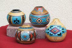 Southwestern Hand-painted Gourd Pot 664 by AChristmasbyCarol