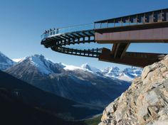 GLACIER SKYWALK Jasper National Park, Canada  One of the newest glass-floored attractions, the Glacier Skywalk in the Canadian Rockies, doesn't open to the public until May 1. When it does, you'll definitely want to add it to your must-do list. The curved walkway extends 100 feet off the edge of a cliff, holding steady 918 feet above the Sunwapta Valley.