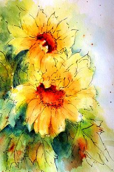 Sunflowers - pen and wash | 140# Arches 140#CP Thank you all… | Flickr