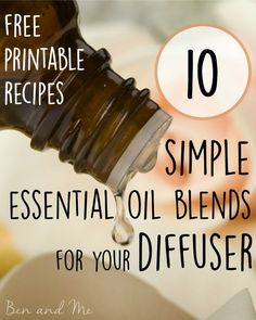 10 Simple Essential Oil Blends for the Diffuser - includes blends for focus, sleep, allergies and more, as well as a free printable PDF with all 10 recipes.