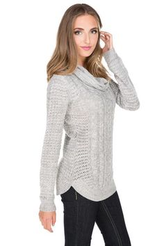Cowl Neck Shirttail Hem Sweater