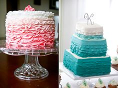 Ombre ruffle wedding cakes