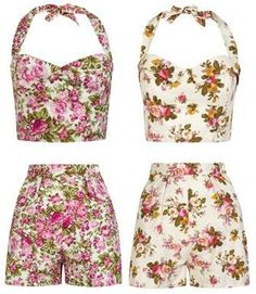 Gorgeous floral 1950s style crop tops and high-waisted shorts from Tara Starlet.