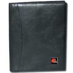 """Checkout our #LicensedGear products FREE SHIPPING + 10% OFF Coupon Code """"Official"""" Cleveland Browns Leather Portfolio - Officially licensed NFL product Licensee: Siskiyou Buckle Genuine fine grain leather wallet Credit card slots Fits standard writing tablet, tablet not included Metal Cleveland Browns emblem with enameled team colors - Price: $51.00. Buy now at https://officiallylicensedgear.com/cleveland-browns-leather-portfolio-flp025"""