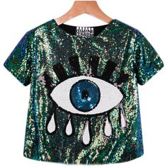 Sequined Eye Pattern T-Shirt ($16) ❤ liked on Polyvore featuring tops, t-shirts, shirts, crop tops, green, short-sleeve shirt, polyester shirt, pattern t shirt, sequin shirt and green sequin shirt