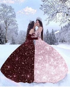 Left or right? Equally stunning gowns presented by ㅤ Quince Dresses, Ball Dresses, Girls Dresses, 15 Dresses, Pretty Dresses, Beautiful Dresses, Twin Outfits, Princess Ball Gowns, Glitter Dress
