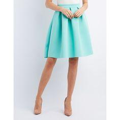 Charlotte Russe Pleated Scuba Midi Skirt ($27) ❤ liked on Polyvore featuring skirts, mint, midi flare skirt, flared midi skirt, mint skirt, charlotte russe and flared skirt