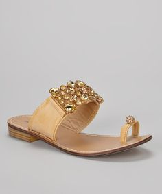 Take a look at this Gold Blondie Embellished Sandal by French Kiss on #zulily today!