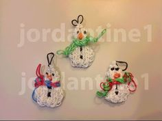 How To Make A Rainbow Loom Small Snowman Charm or Ornament With Two Snowballs - YouTube