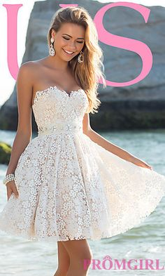 Short Strapless Sweetheart Lace Dress at PromGirl.com   BL-9900