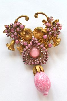 Vintage 1940s Superb Signed Miriam Haskell Pink Brooch | vintage costume jewelry x