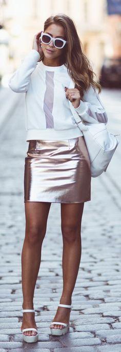 River Island Rose Gold High Waisted Metallic Mini Skirt by Kenzas