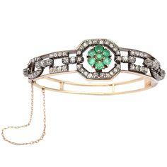 Emerald & Diamond Bangle Bracelet circa 1910-1920