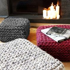 Chunky merino wool Knit gray pouf - ottoman / Crochet pouf / Chunky wool Knit floor cushion / Crochet footstool  Wonderful, square shaped pouf - for