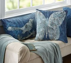 Batik Printed Critters Pillow Cover #potterybarn $39.50~~Denim jeans and a bleach pen (under $7.50)