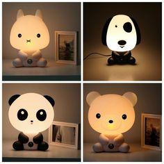 NEW Baby Room Panda/Rabbit/Dog/Bear Cartoon Night Sleeping Light Kids Bed Lamp Night Sleeping Lamp Best for Gifts EU/US Plug