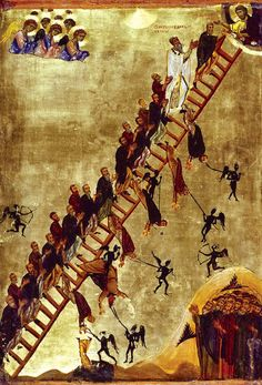 Russian icon depicting souls falling off the ladder to Heaven into Hell