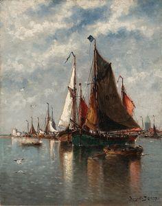 fleurdulys:  Le bassin de pecheurs, Ostende - Auguste Henri Musin