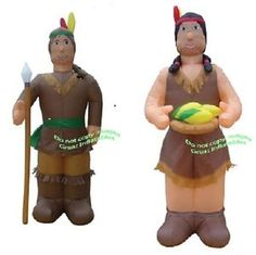 Thanksgiving Halloween Inflatable Lighted Indian Man Woman Prop Decoration   eBay