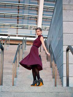 Burgundy dress and cool booties!!