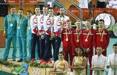 Silver medallists Australia's Michael Hepburn, Australia's Jack Bobridge and Australia's Sam Welsford, gold medallists Britain's Owain Doull, Britain's Edward Clancy, Britain's Steven Burke and Britain's Bradley Wiggins and bronze medallists Denmark's La