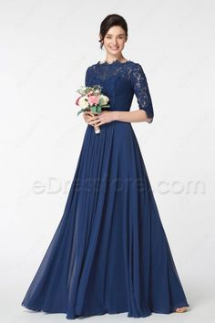The navy blue bridesmaid dress features scalloped O neckline and lace top, sleeves, pleated waist continued with gathered A Line skirt finishing with floor length. Bridesmaid Dresses Long Blue, Prom Dresses With Sleeves, Mob Dresses, Blue Wedding Dresses, Modest Dresses, Lace Dress, Blue Lace, Eid Clothes, Orthodox Wedding