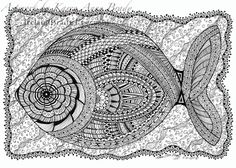 "ACEO Open Edition Print ""Rosa's Flounder"" zentangle inspired zendoodle doodle designs by Karen Anne Brady"