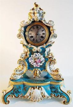 French Empire porcelain mantel clock