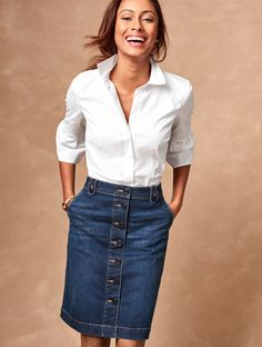 Looking for an outfit to skirt around town in and still be on-trend? We love a denim A-line skirt paired with a crisp white button-up shirt. It is both classic and stylish and will take you effortlessly from summer to fall | Talbots
