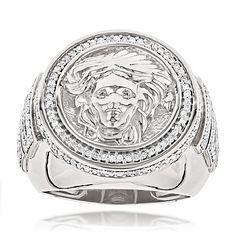14K Gold Diamond Mens Versace Style Ring 1.88ct Medusa